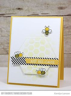 card bee bees hexagon honeycomb MFT Die-namics Meant to bee - My Favorite Things - Wednesday Sketch Challenge card critters bee bees bug insect bumblebee, honey, MFT Meant to bee Die-namics & MFT honeycomb background stamp Bee Honeycomb, Honey Bee Stamps, Pretty Pink Posh, Bee Cards, Hexagon Pattern, Mft Stamps, Bee Happy, Card Kit, Scrapbook Cards