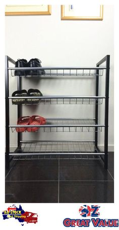 1 set of 4 layer easy storage metal shoe rack shoe organizer jba3015