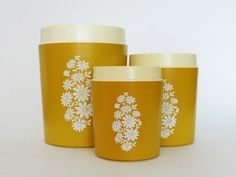 Vintage Yellow Nesting Storage Canisters Flowers Retro by PopBam