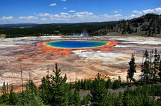"""""""Grand Prismatic Spring and Midway Geyser Basin"""".The Grand Prismatic Spring in Yellowstone National Park is the largest hot spring in the United States, and the third largest in the world. It is located in the Midway Geyser Basin. List Of National Parks, Parc National, Wyoming, Places To Travel, Places To See, Beautiful World, Beautiful Places, Amazing Places, Amazing Photos"""
