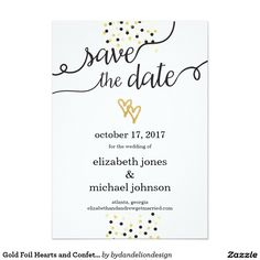 Gold Foil Hearts and Confetti Save the Date
