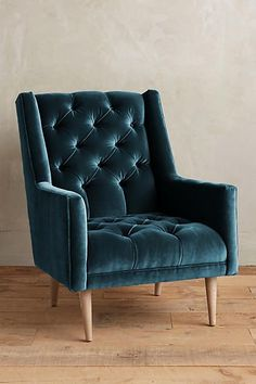 Snag this Velvet Booker Armchair from Anthroplogie for your lush living room. Velvet Furniture, Plywood Furniture, Unique Furniture, Home Furniture, Furniture Design, Furniture Chairs, Chair Design, Dining Chairs, Lounge Chairs