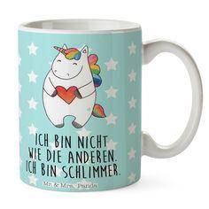Tasse Einhorn Herz aus Keramik  Weiß - Das Original von Mr. & Mrs. Panda.  Eine wunderschöne spülmaschinenfeste Keramiktasse (bis zu 2000 Waschgänge!!!) aus dem Hause Mr. & Mrs. Panda, liebevoll verziert mit handentworfenen Sprüchen, Motiven und Zeichnungen. Unsere Tassen sind immer ein besonders liebevolles und einzigartiges Geschenk. Jede Tasse wird von Mrs. Panda entworfen und in liebevoller Arbeit in unserer Manufaktur in Norddeutschland gefertigt.     Über unser Motiv Einhorn Herz  Das…