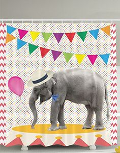 Elephant Decor Cute Party Festival Funny Decorations Balloons Lines of Bunting Colorful Polka Dots Chevron Pattern Fancy Animal Decor Bathroom Fun Shower Curtain Coral Yellow Blue Green Gray Purple