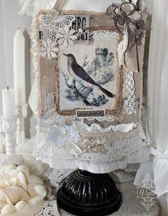 Shabby Chic Inspired: dream. Bird fabric Collage.
