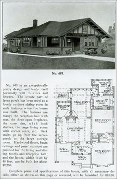 1919 – Henry L. Wilson – The Bungalow Book – Design No. 463 – Craftsman-style bungalow with half timbering 1919 – Henry L. Craftsman Style Bungalow, Bungalow House Plans, Craftsman Bungalows, Small House Plans, House Floor Plans, Craftsman Homes, Vintage House Plans, Vintage Homes, Buch Design