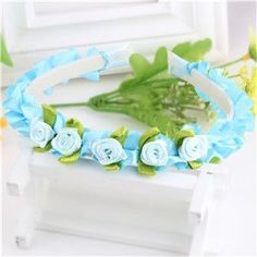 Colorful Kids Ribbon Rose Flower Headbands Baby Garland Hair Band Hair Accessories Prom Head Wrap Girls Hairband