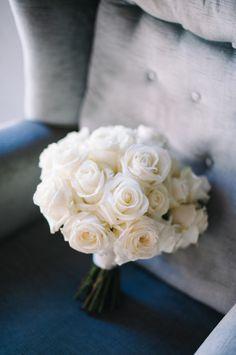 Classic white rose bouquet: http://www.stylemepretty.com/washington-weddings/langley-washington/2015/10/02/romantic-washington-island-wedding/ | Photography:  Blue Rose Pictures - bluerosepictures.com