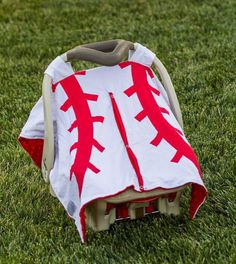Red White Baseball Minky Car Seat Canopy