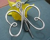 Butterfly Shawl Pin / Brooch -  Light Weight Aluminum  (for more happy healthy humorous & creative hoopspiration please check out: www.HipTheHoopla.com & www.facebook.com/HipTheHoopla ~ thanks! :) Also www.ToucheToon.com (cartoon humor) & www.DatingAndHandGrenades.com (relationship humor) ~ :-)