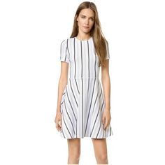 Opening Ceremony Striped Clos Dress ($450) ❤ liked on Polyvore featuring dresses, white multi, stripe fit and flare dress, two-tone dress, opening ceremony dresses, white dress and opening ceremony