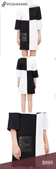 🔲🔳🔲EDUN colorblocked shift shape dress!!!🔳🔲🔳 Fantastic for this season and year round. Black and white only with 3/4 sleeve. Leather pockets on front thigh. One black leather pocket and on opposite side a white leather pocket. Cozy, breathtaking, and ever so luscious!!!! 🔲🔳🔲🔳🔲💋💋💋💋💋💋💋 EDUN Dresses Mini