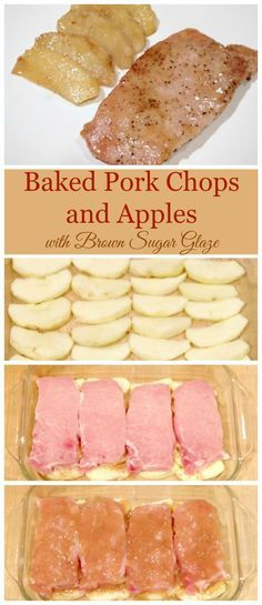 This recipe is for baked pork chops and apples with brown sugar glaze is my family's absolute favorite dinner and it's also super easy to make! (food to make soy sauce) Pork Chops And Applesauce, Baked Apple Pork Chops, Apple Stuffed Pork Chops, Brown Sugar Pork Chops, Pork Chop Marinade Baked, Oven Pork Chops, Chops Recipe, Pork Chops And Pears Recipe, Snacks