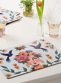 Frida and her world laminated cork placemats Set of 4 Famous Mexican Painters, Her World, Place Mats, Cork, Kitchen Dining, Cleaning Wipes, Colours, Table Decorations, House Styles