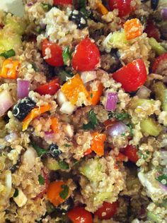 Greek quinoa salad. Great way to get all veggies and protein all in one light, healthy dish. Smart to use chicken stock for the cooking liquid.