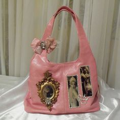 Pink Leather Purse, Beautiful Bridal Handbag, Victorian Sexy Steampunk Leather Bag with vintage mirror.. $257.00, via Etsy.