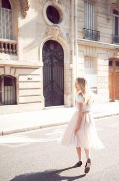 Alexandra Grecco Natalie Skirt in blush silk chiffon