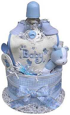 2 Tiered Boy's Diaper Cake by Baby Gift Idea