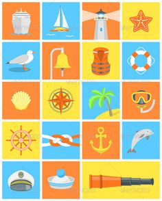 Nautical Icons by vectorikart Set of modern flat square icons for nautical and sea traveling themes, namely:passenger ship,sailboat,lighthouse,starfish,seagull,