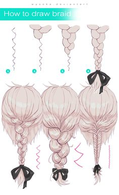 How To Draw Braids # Braids drawing reference How To Draw Braid by wysoka on DeviantArt # Braids drawing reference Drawing Techniques, Drawing Tips, Drawing Reference, Braid Drawing, Pose Reference, Drawing Ideas, How To Draw Braids, How To Draw Anime Hair, How To Draw Manga