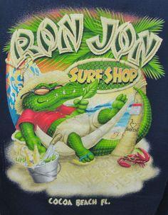 Ron Jon Surf Shop  Muscle Shirt Large L Blue Cocoa Beach FL Sleeveless Alligator #RonJon #muscleshirt