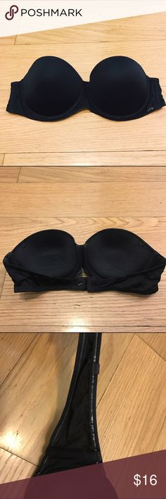 CALVIN KLEIN Black Strapless Bra Calvin Klein Black Strapless Bra. -34B -Padded, push up. -Black, does not include straps. -In great condition. Some minimal cracking on material at bottom of bra. (See last two pics)   NO Trades. Please make all offers through offer button. Calvin Klein Intimates & Sleepwear Bras