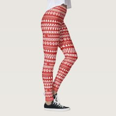 Simple White/Red Rows Christmas Fun Font Pattern Leggings - patterns pattern special unique design gift idea diy