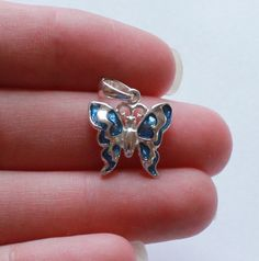 Vintage STERLING SILVER 925 Butterfly Blue Enamel Pendant by paststore on Etsy