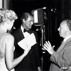 Grace Kelly, Cary Grant, and Alfred Hitchcock filming To Catch a Thief (1955)