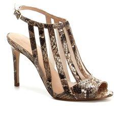 c77aecb36c Sandália Couro Shoestock Salto Alto com Tela Feminina