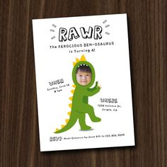 Dinosaur Invite, Dinosaur Invitation Printable, Custom Photo Face Invitation, 5x7 DIY Invitation by MayDetails Más