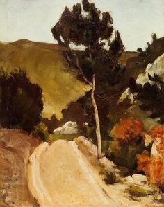 Road in Provence - Paul Cezanne  Talk about yer abstract shapes!!  This man was fearless.  What's wrong with me?