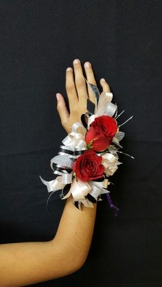 2 red rose corsage with champagne, black and silver #michaelallensflowers
