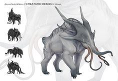 """This is a concept did for a school project, they give to us a simple description of all creatures, characters, enviroment etc.. and then we draw everything. Here the description was: """"They resemble..."""