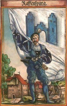 """Ravensburg [Raffenspurg] (f°103) -- Koebel, Jacob, """"Wapen des heyligen römischen Reichs teutscher Nation"""", Franckfurth am Main, 1545 [BSB Ms. Rar. 2155]"""