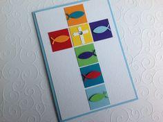 handmade First Communion card ... Kommunionkarte von Mit freundlichen Grüßen ! auf DaWanda.com ... cross made of inches with fishes ... bright colors ... happy look ...