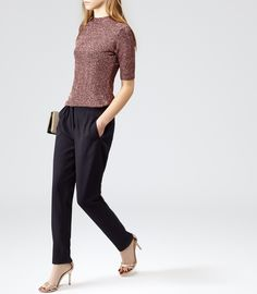 Reiss Sparkle Women's Black/copper High-neck Metallic Top