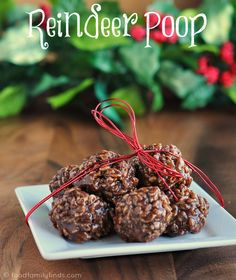 Reindeer Poop Homemade Star Crunch Snack 4 tablespoons butter 5 ounces mini marshmallows (half a bag) 12 ounces of Smucker's caramel dessert topping 12 ounces of Hershey's milk chocolate chips 5 – 6 cups Rice Krispies cereal
