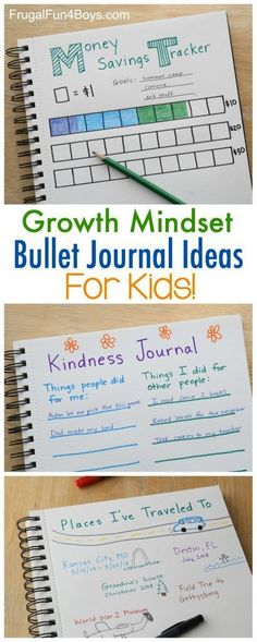 Growth Mindset Bullet Journal Ideas for Kids - Set goals, record progress, journal new experiences, and more! Bullet Journal For Kids, Bullet Journals, Journal Prompts For Kids, Bullet Journal Teacher, Bullet Journal Money Tracker, Learning Activities, Activities For Kids, Stem Activities, Educational Activities