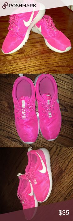 Nike Roshe Run Pink Women Sneakers Very comfy sneakers! Have been worn several times, but still in decent shape. Great to do exercise in! I wear 8.5/9 women and these fit just perfect. Better fit for a size 8 in Women. Will be cleaned with Jason Markk before shipping.  PRICE IS FIRM Nike Shoes Athletic Shoes
