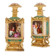 Pair of porcelain bottles attributed to Jacob Petit | Attributed to Petit, Jacob (French, 1797-1868) | French | 19th Century. More details online at mayfairgallery.com French Rococo, Rococo Style, Green Ground, Fairy Land, Fine Porcelain, Decorative Objects, 17th Century, Bottles, Candle Holders