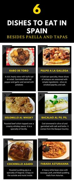 Looking for what to eat in Spain? Look beyond paella and tapas. There are so many delicious foods to eat in Spain! These are 6 dishes from different parts of Spain that are worth a try. It's a Spanish food guide you don't want to miss! Best Spanish Food, Spanish Cuisine, Spanish Dishes, Spanish Recipes, Ibiza, Smoked Potatoes, Braised Oxtail, Seafood Restaurant, Foods To Eat