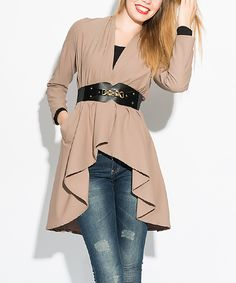 Look what I found on #zulily! Mink Ruffle Belted Jacket by Ironi Collection #zulilyfinds