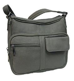 Roma Leathers 7081 Grey Concealed Carry Leather Gun Purse with Organizer - Handbags, Bling & More!