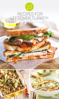 Turn leftover turkey into a new meal with these savory recipe ideas. Get new dinner ideas here: http://www.bhg.com/thanksgiving/roast-turkey/fresh-ideas-for-leftover-turkey/?socscrc=bhgpin111613leftoverturkey&page=1