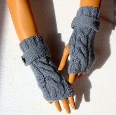 Handknit Gray Gloves Knit Gray Mitten Winter by RoseAndKnit, $32.00