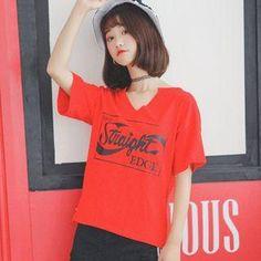 #AdoreWe #YesStyle DYONG Letter Short-Sleeve T-shirt - AdoreWe.com