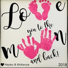 Love you to the Moon and Back Wooden Sign, Handprint and Footprint Art, Toddler Footprint Craft, Baby Footprint Craft - Valentinstag Geschenkideen Toddler Valentine Crafts, Mothers Day Crafts For Kids, Toddler Crafts, Infant Crafts, Homemade Valentines, Valentine Box, Valentine Wreath, Valentine Ideas, Baby Footprint Crafts