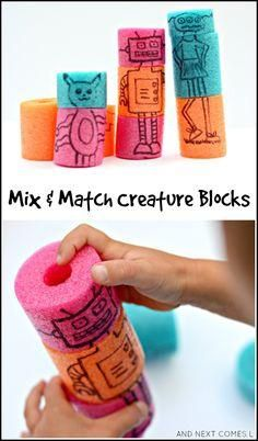 Homemade mix and match creature blocks made from pool noodles are a perfect quiet time activity for kids from And Next Comes L (Mix Match Wood) Quiet Time Activities, Preschool Activities, Activities For Kids, Crafts For Kids, Robot Games For Kids, Quiet Time Boxes, Pool Noodle Crafts, Pool Noodle Games, Kids Blocks