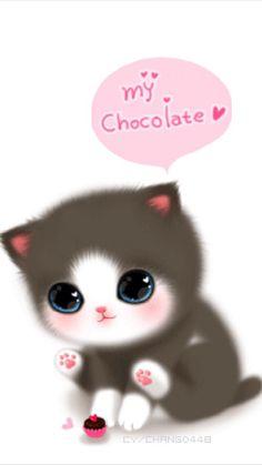 My Chocolate wall Kitty Wallpaper, Kawaii Wallpaper, Cute Wallpaper Backgrounds, Wallpaper Iphone Cute, Cute Animal Drawings, Kawaii Drawings, Cute Fantasy Creatures, Kawaii Doodles, Dibujos Cute